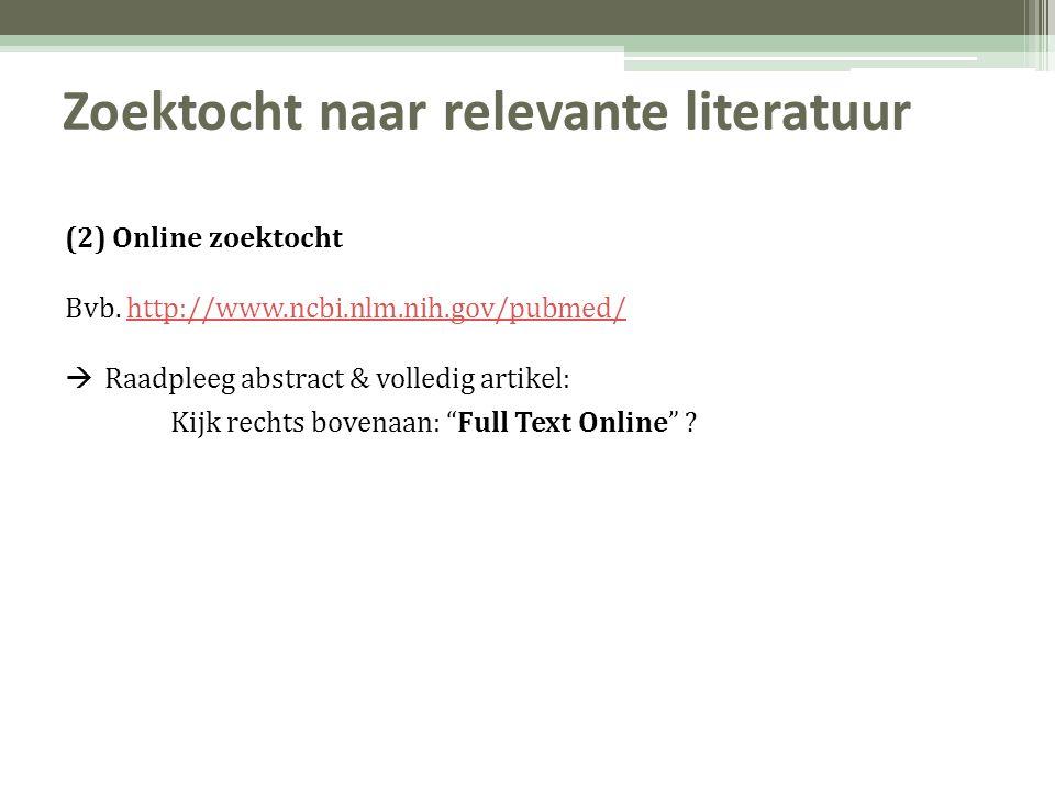 Zoektocht naar relevante literatuur (2) Online zoektocht Bvb.