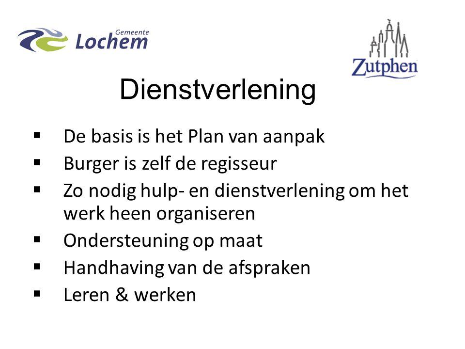 Dienstverlening  De basis is het Plan van aanpak  Burger is zelf de regisseur  Zo nodig hulp- en dienstverlening om het werk heen organiseren  Ondersteuning op maat  Handhaving van de afspraken  Leren & werken