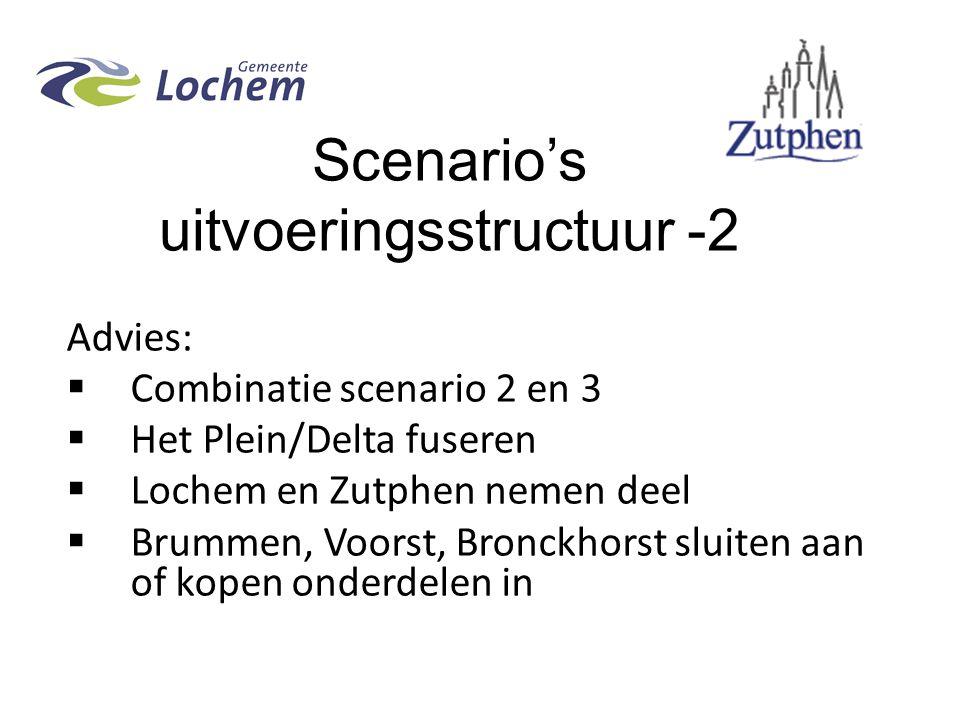 Scenario's uitvoeringsstructuur -2 Advies:  Combinatie scenario 2 en 3  Het Plein/Delta fuseren  Lochem en Zutphen nemen deel  Brummen, Voorst, Bronckhorst sluiten aan of kopen onderdelen in