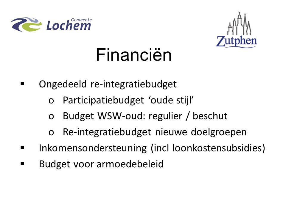 Financiën  Ongedeeld re-integratiebudget oParticipatiebudget 'oude stijl' oBudget WSW-oud: regulier / beschut oRe-integratiebudget nieuwe doelgroepen  Inkomensondersteuning (incl loonkostensubsidies)  Budget voor armoedebeleid