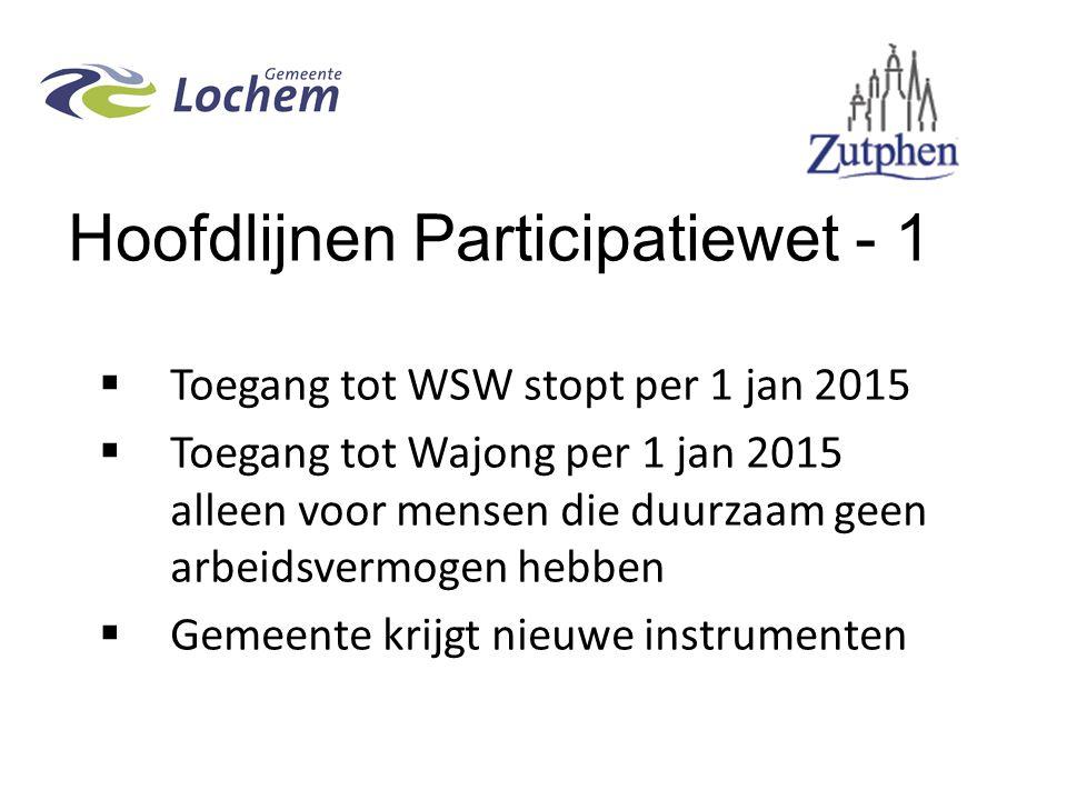 Hoofdlijnen Participatiewet - 1  Toegang tot WSW stopt per 1 jan 2015  Toegang tot Wajong per 1 jan 2015 alleen voor mensen die duurzaam geen arbeidsvermogen hebben  Gemeente krijgt nieuwe instrumenten