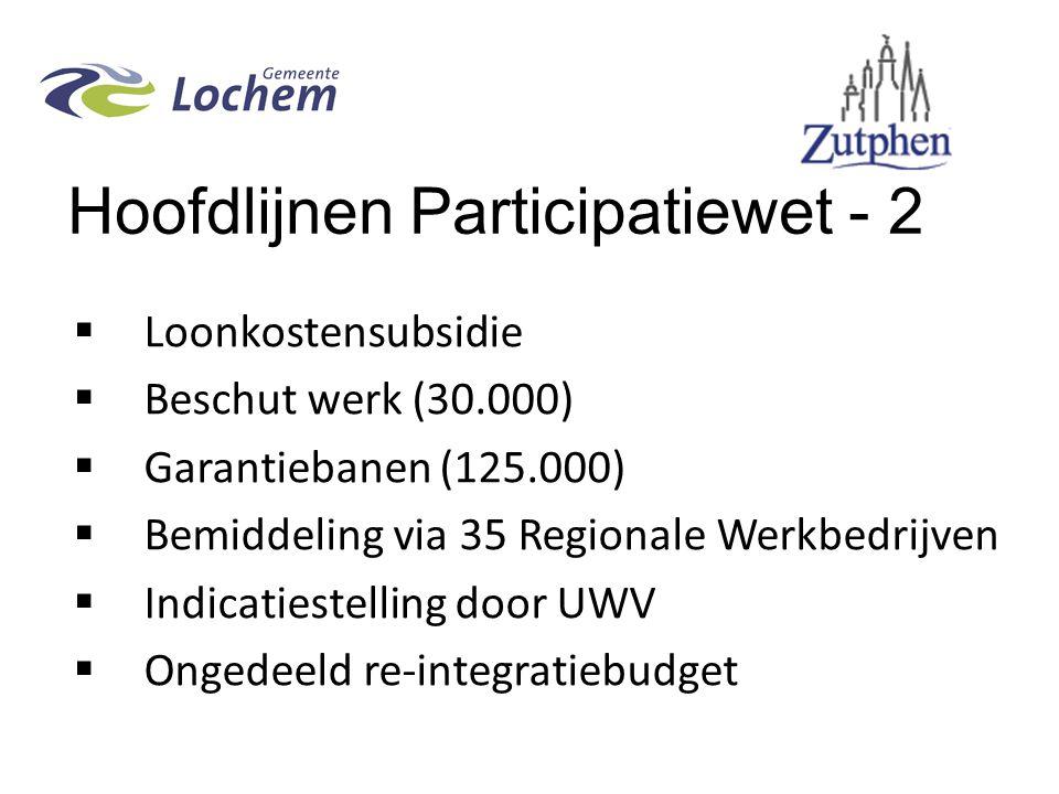 Hoofdlijnen Participatiewet - 2  Loonkostensubsidie  Beschut werk (30.000)  Garantiebanen (125.000)  Bemiddeling via 35 Regionale Werkbedrijven  Indicatiestelling door UWV  Ongedeeld re-integratiebudget