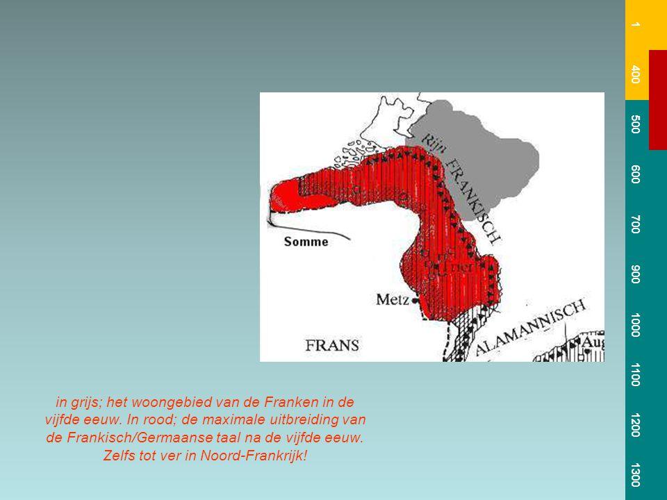 in grijs; het woongebied van de Franken in de vijfde eeuw. In rood; de maximale uitbreiding van de Frankisch/Germaanse taal na de vijfde eeuw. Zelfs t