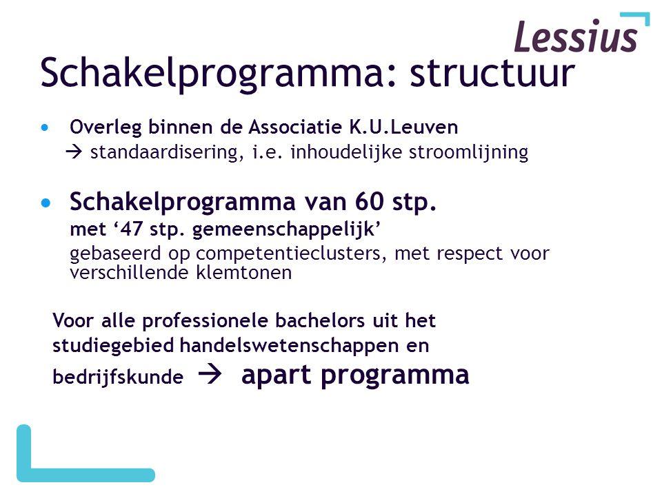 Schakelprogramma: structuur  Overleg binnen de Associatie K.U.Leuven  standaardisering, i.e. inhoudelijke stroomlijning  Schakelprogramma van 60 st