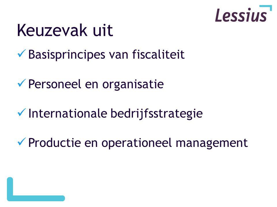 Keuzevak uit  Basisprincipes van fiscaliteit  Personeel en organisatie  Internationale bedrijfsstrategie  Productie en operationeel management