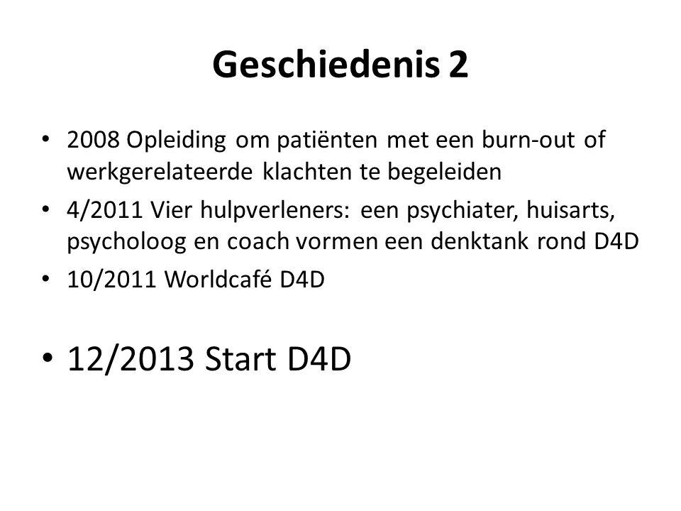 Geschiedenis 2 • 2008 Opleiding om patiënten met een burn-out of werkgerelateerde klachten te begeleiden • 4/2011 Vier hulpverleners: een psychiater,