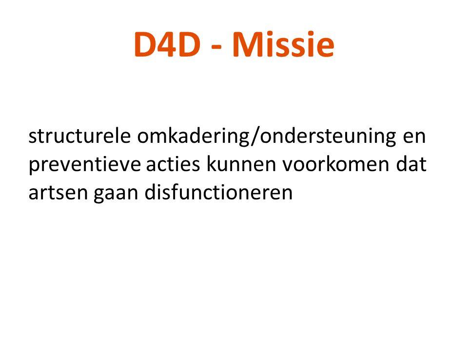 D4D - Missie structurele omkadering/ondersteuning en preventieve acties kunnen voorkomen dat artsen gaan disfunctioneren