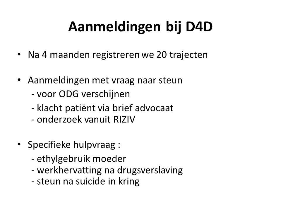 Aanmeldingen bij D4D • Na 4 maanden registreren we 20 trajecten • Aanmeldingen met vraag naar steun - voor ODG verschijnen - klacht patiënt via brief