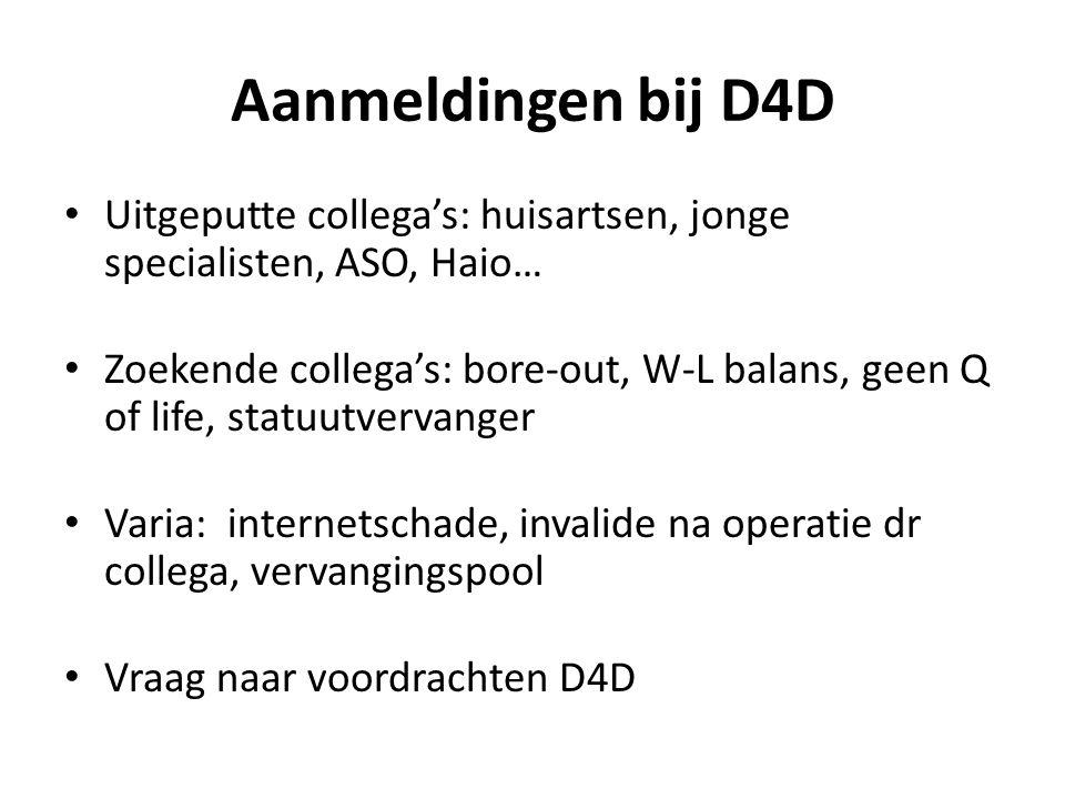 Aanmeldingen bij D4D • Uitgeputte collega's: huisartsen, jonge specialisten, ASO, Haio… • Zoekende collega's: bore-out, W-L balans, geen Q of life, st