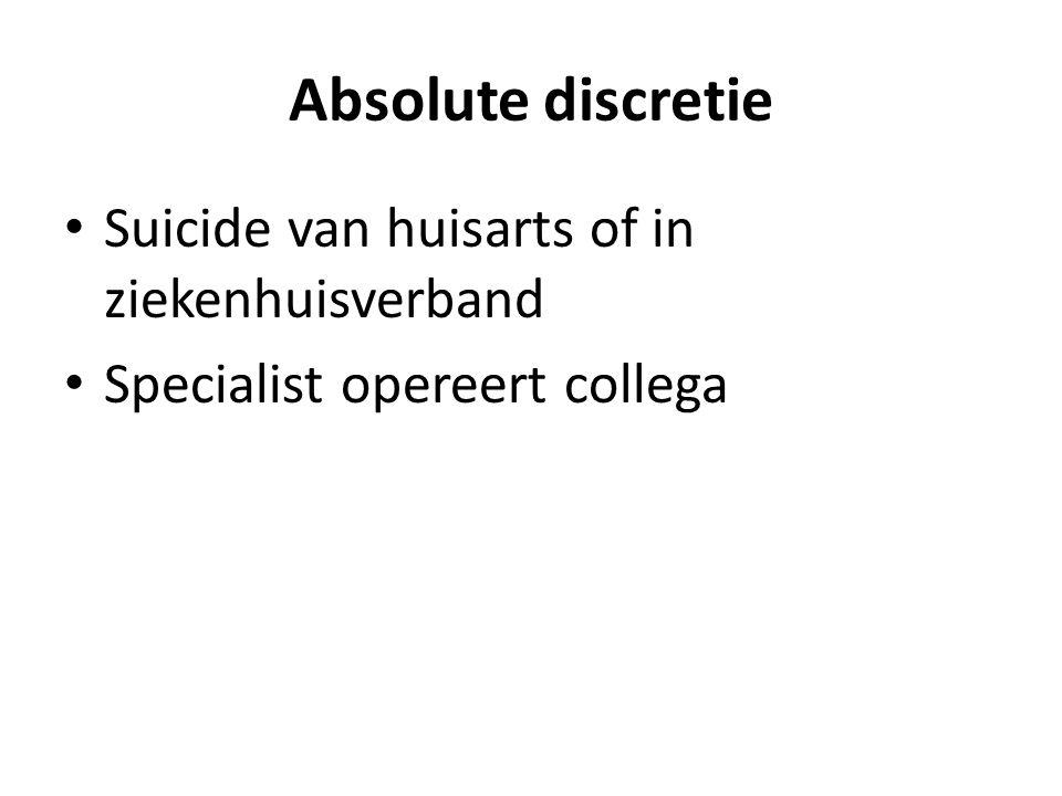 Absolute discretie • Suicide van huisarts of in ziekenhuisverband • Specialist opereert collega