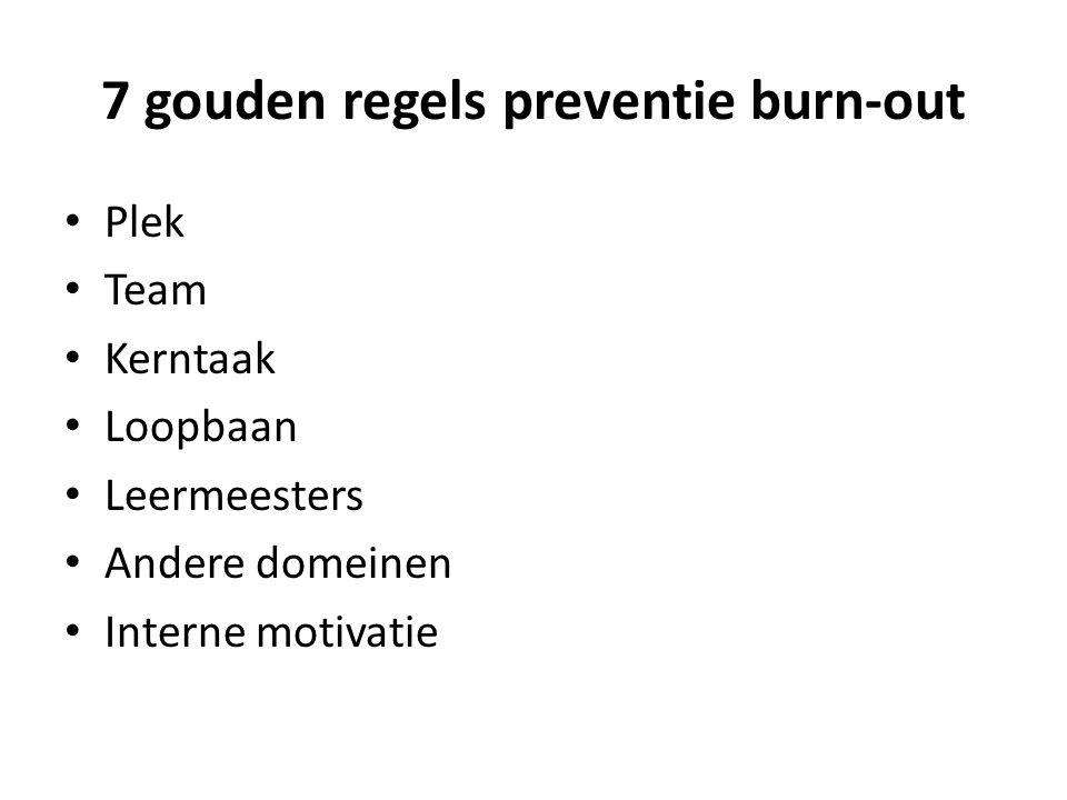 7 gouden regels preventie burn-out • Plek • Team • Kerntaak • Loopbaan • Leermeesters • Andere domeinen • Interne motivatie
