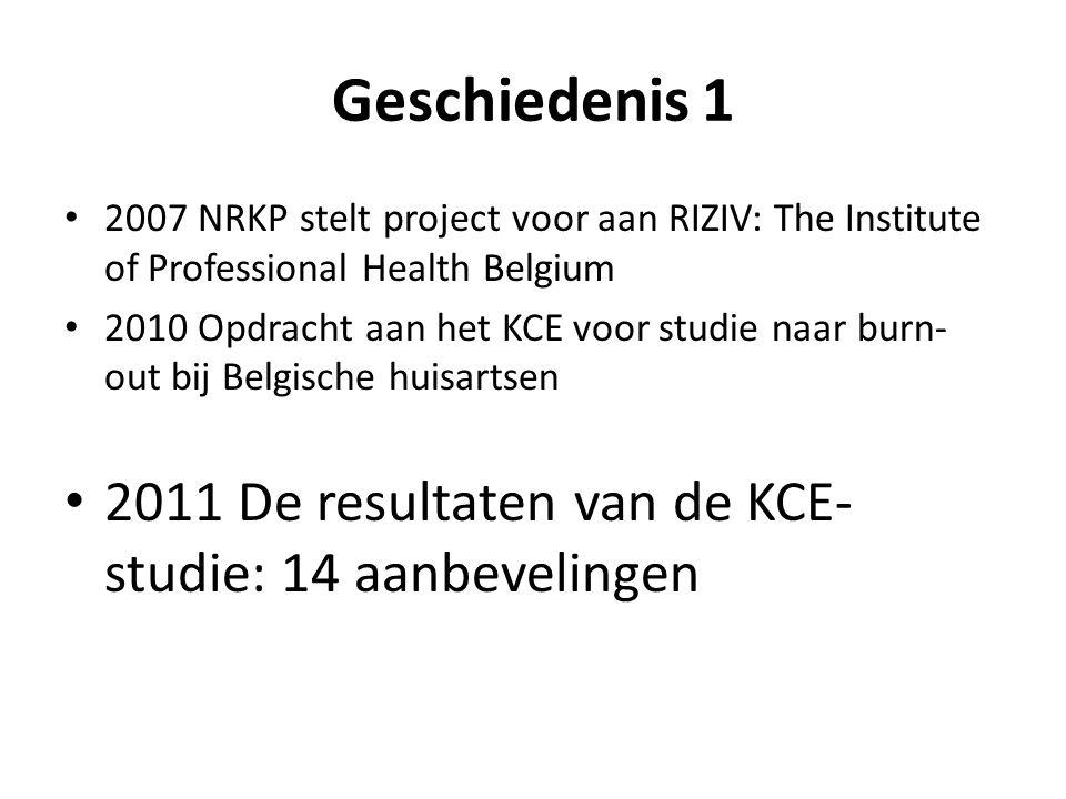 Geschiedenis 1 • 2007 NRKP stelt project voor aan RIZIV: The Institute of Professional Health Belgium • 2010 Opdracht aan het KCE voor studie naar bur