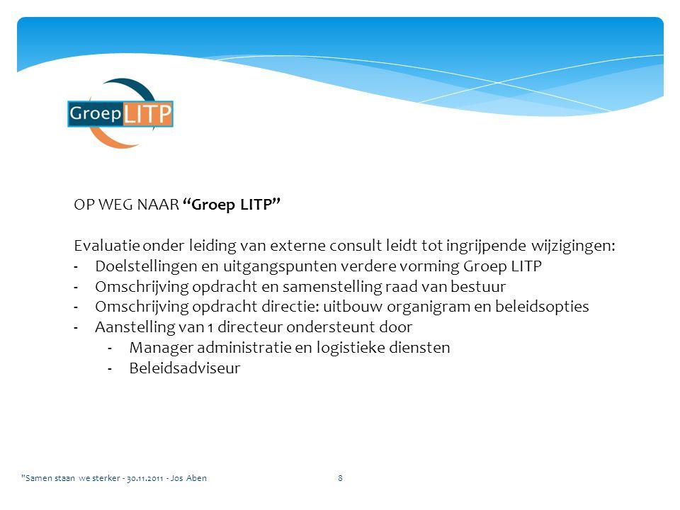 """OP WEG NAAR """"Groep LITP"""" Evaluatie onder leiding van externe consult leidt tot ingrijpende wijzigingen: -Doelstellingen en uitgangspunten verdere vorm"""