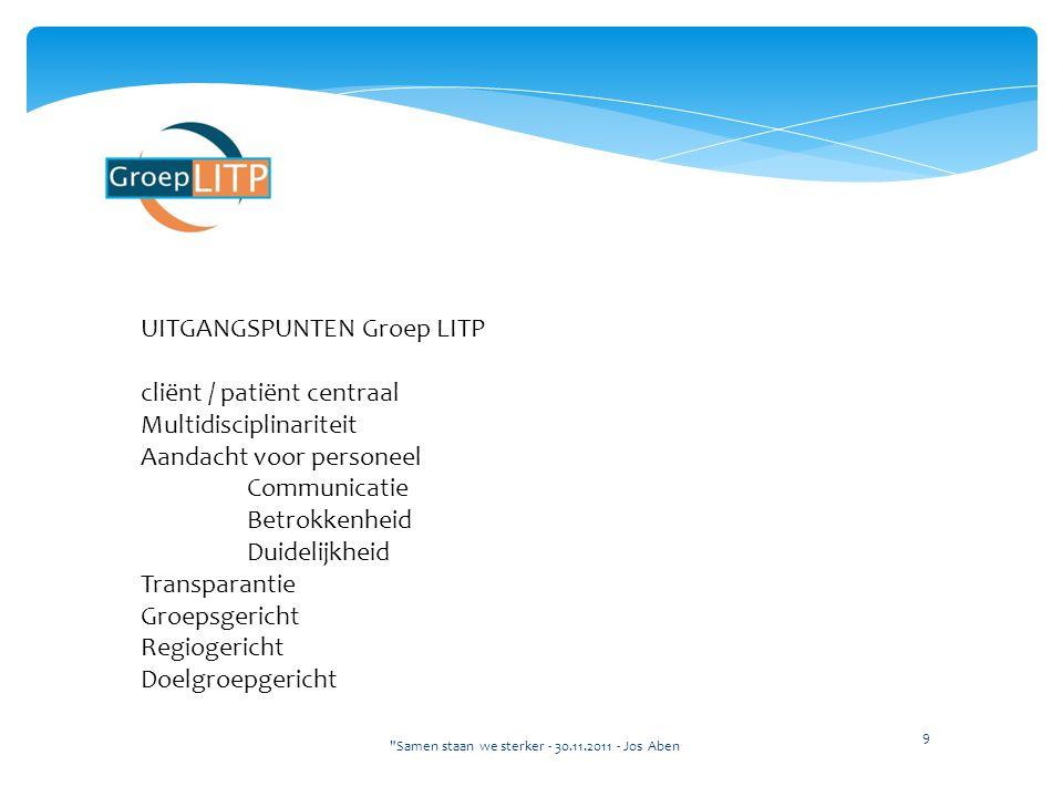 UITGANGSPUNTEN Groep LITP cliënt / patiënt centraal Multidisciplinariteit Aandacht voor personeel Communicatie Betrokkenheid Duidelijkheid Transparant