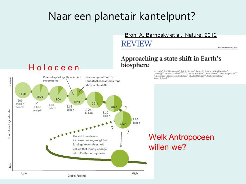 Naar een planetair kantelpunt? Bron: A. Barnosky et al., Nature, 2012 H o l o c e e n Welk Antropoceen willen we?