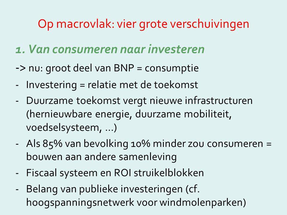 Op macrovlak: vier grote verschuivingen 1. Van consumeren naar investeren -> nu: groot deel van BNP = consumptie -Investering = relatie met de toekoms