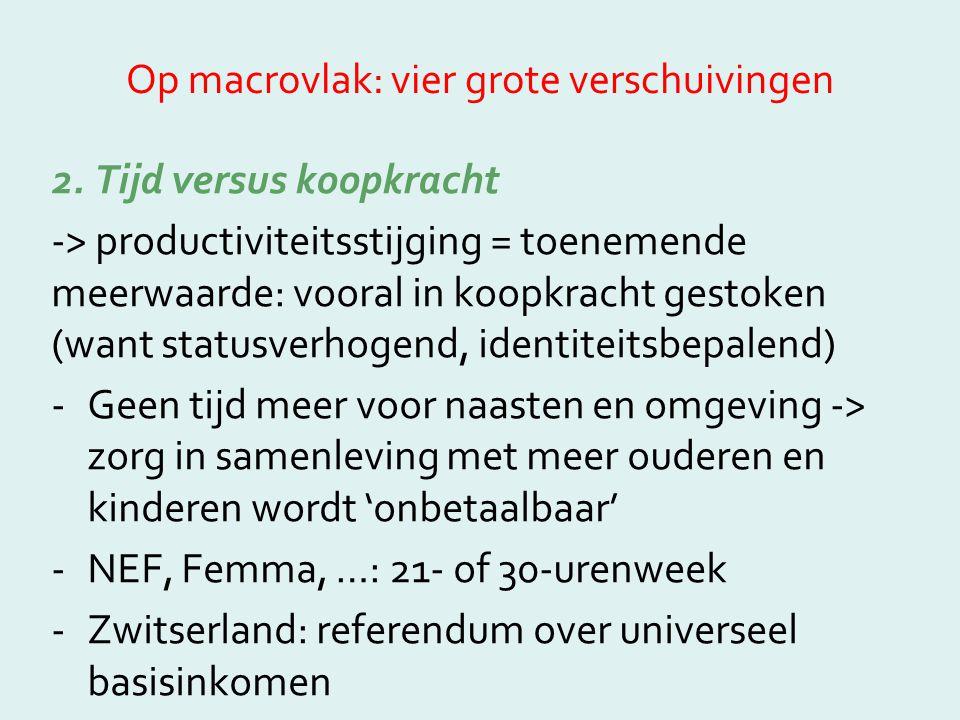 Op macrovlak: vier grote verschuivingen 2. Tijd versus koopkracht -> productiviteitsstijging = toenemende meerwaarde: vooral in koopkracht gestoken (w