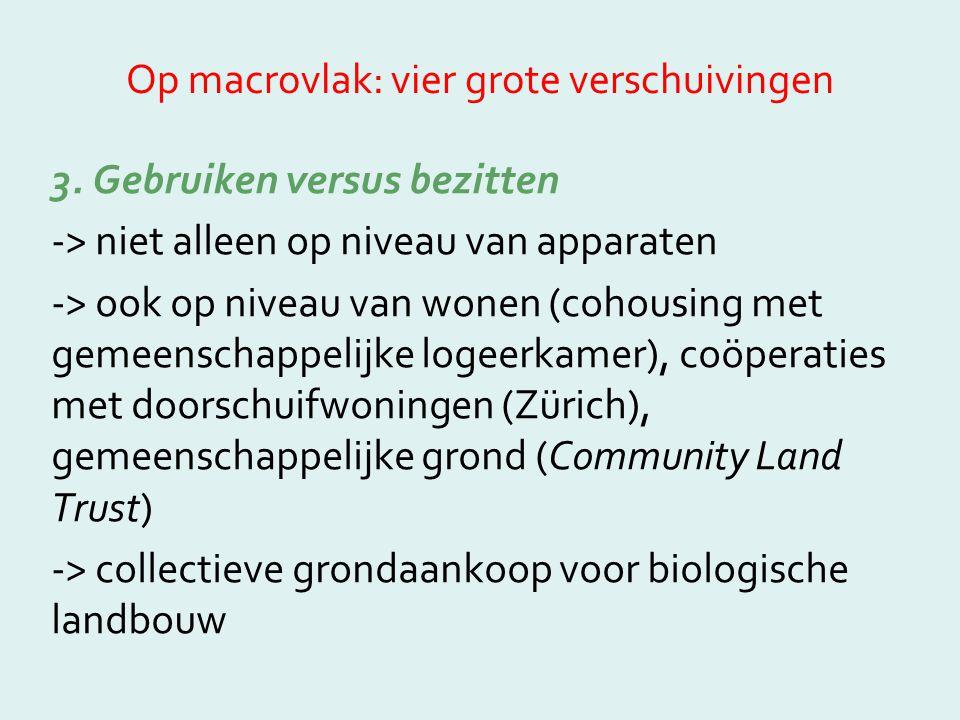 Op macrovlak: vier grote verschuivingen 3. Gebruiken versus bezitten -> niet alleen op niveau van apparaten -> ook op niveau van wonen (cohousing met