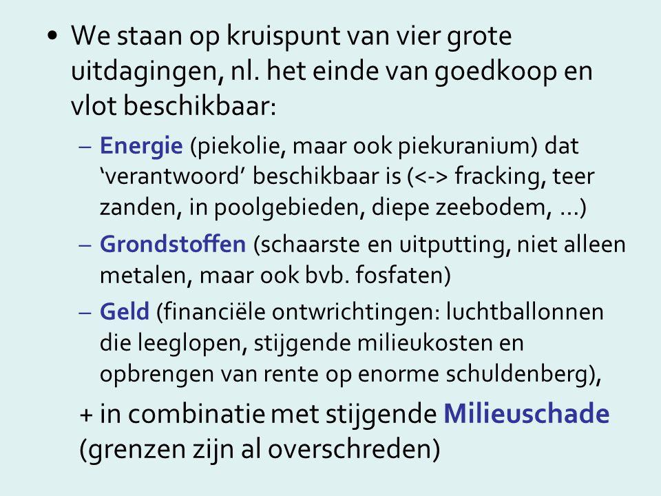 •We staan op kruispunt van vier grote uitdagingen, nl. het einde van goedkoop en vlot beschikbaar: –Energie (piekolie, maar ook piekuranium) dat 'vera