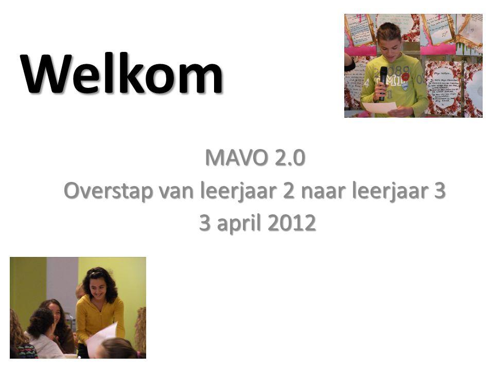 Welkom MAVO 2.0 Overstap van leerjaar 2 naar leerjaar 3 3 april 2012 3 april 2012