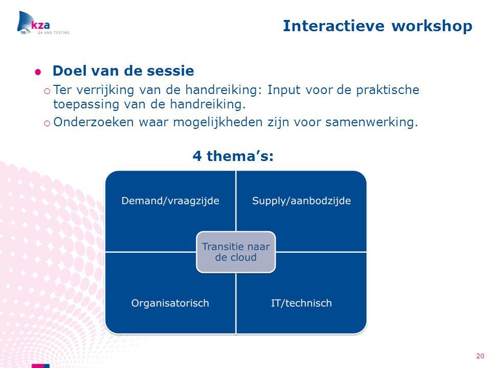 ●Doel van de sessie o Ter verrijking van de handreiking: Input voor de praktische toepassing van de handreiking. o Onderzoeken waar mogelijkheden zijn