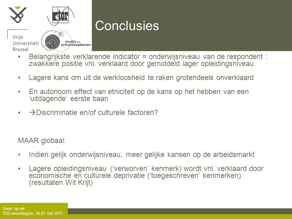 Zwart op wit SSL-tweedaagse, 24-25 feb 2011 Conclusies •Belangrijkste verklarende indicator = onderwijsniveau van de respondent : zwakkere positie vnl.