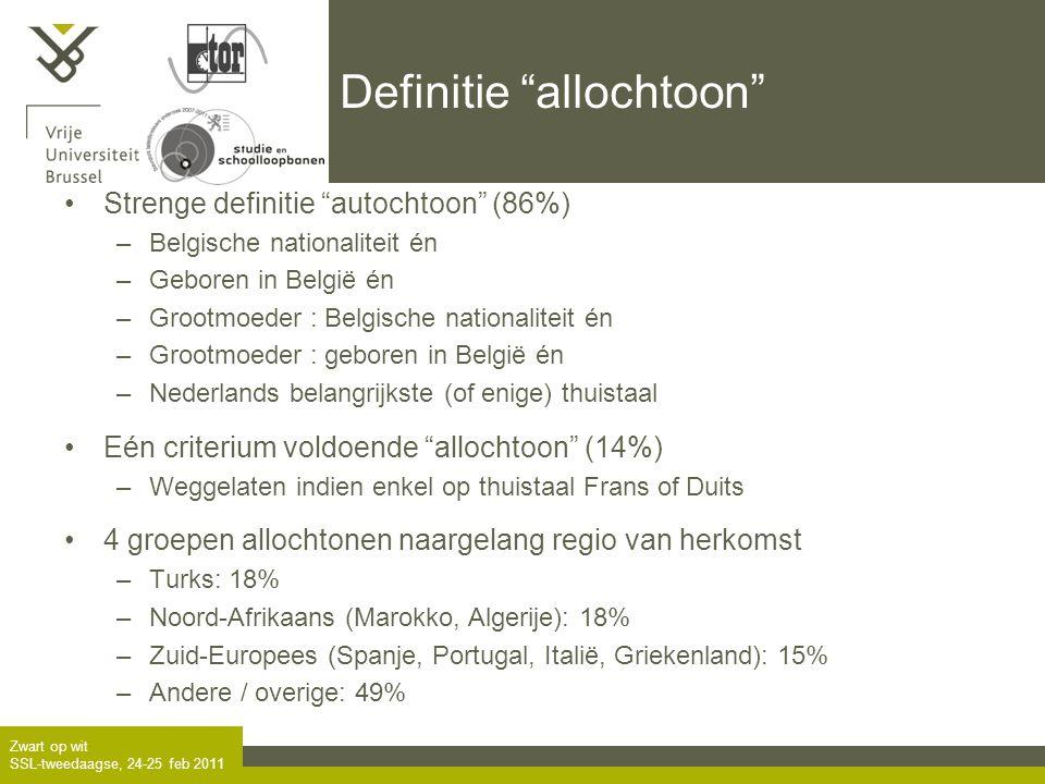 Zwart op wit SSL-tweedaagse, 24-25 feb 2011 Definitie allochtoon •Strenge definitie autochtoon (86%) –Belgische nationaliteit én –Geboren in België én –Grootmoeder : Belgische nationaliteit én –Grootmoeder : geboren in België én –Nederlands belangrijkste (of enige) thuistaal •Eén criterium voldoende allochtoon (14%) –Weggelaten indien enkel op thuistaal Frans of Duits •4 groepen allochtonen naargelang regio van herkomst –Turks: 18% –Noord-Afrikaans (Marokko, Algerije): 18% –Zuid-Europees (Spanje, Portugal, Italië, Griekenland): 15% –Andere / overige: 49%