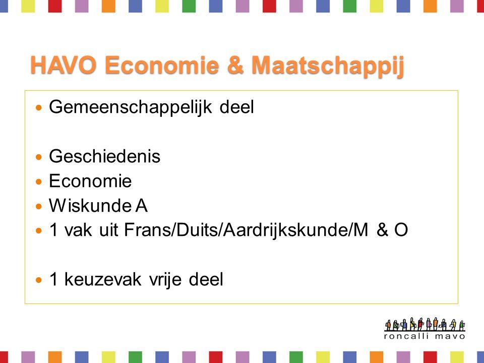 HAVO Economie & Maatschappij  Gemeenschappelijk deel  Geschiedenis  Economie  Wiskunde A  1 vak uit Frans/Duits/Aardrijkskunde/M & O  1 keuzevak
