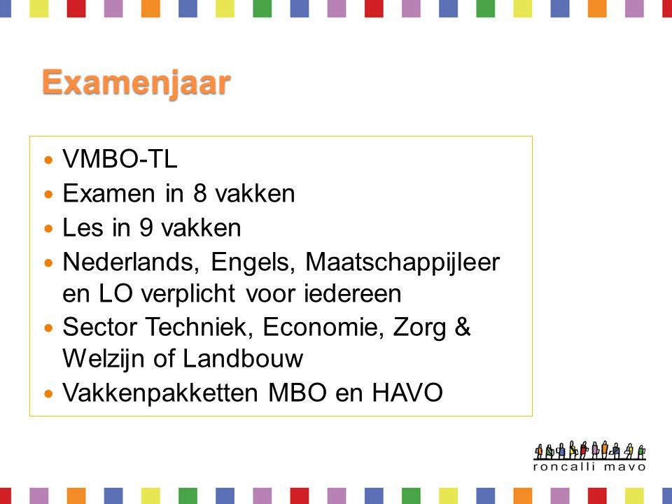 Examenjaar  VMBO-TL  Examen in 8 vakken  Les in 9 vakken  Nederlands, Engels, Maatschappijleer en LO verplicht voor iedereen  Sector Techniek, Ec