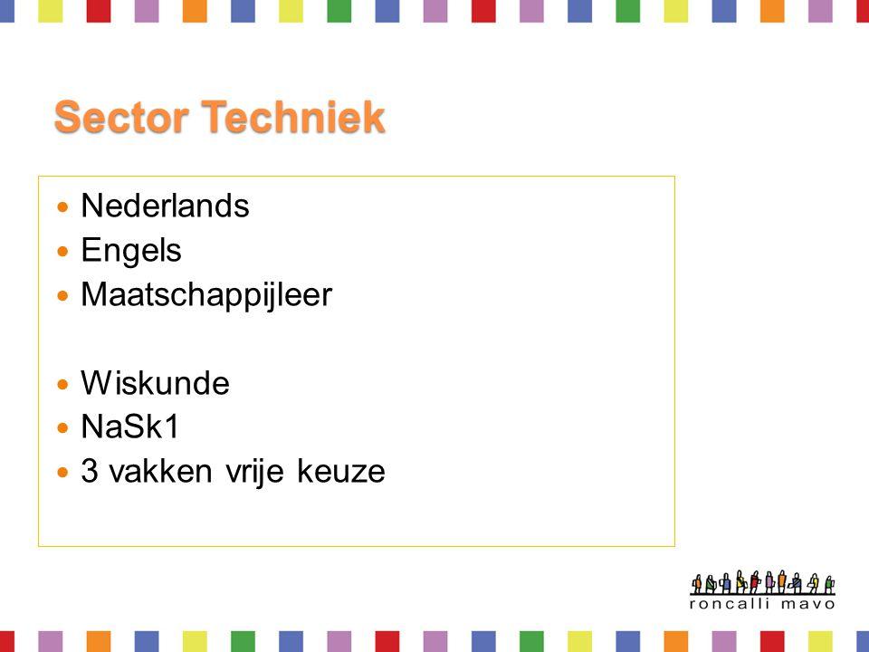 Sector Techniek  Nederlands  Engels  Maatschappijleer  Wiskunde  NaSk1  3 vakken vrije keuze
