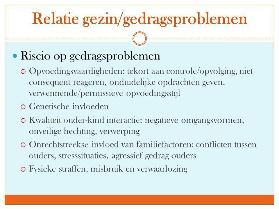 Relatie gezin/gedragsproblemen  Riscio op gedragsproblemen  Opvoedingsvaardigheden: tekort aan controle/opvolging, niet consequent reageren, onduide