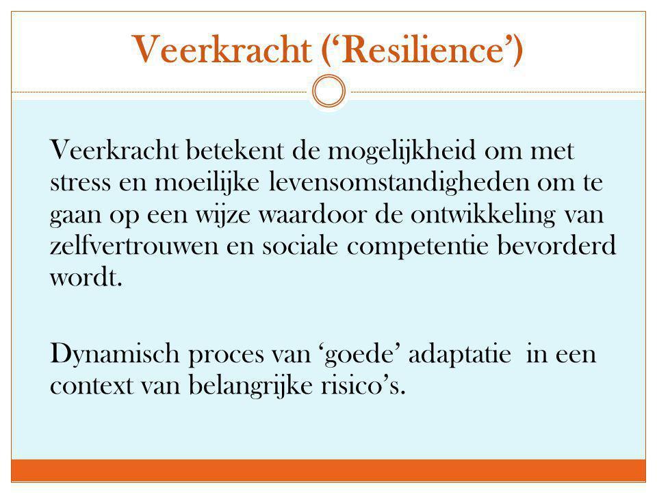 Veerkracht ('Resilience') Veerkracht betekent de mogelijkheid om met stress en moeilijke levensomstandigheden om te gaan op een wijze waardoor de ontw