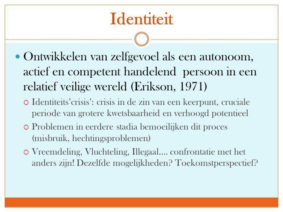 Identiteit  Ontwikkelen van zelfgevoel als een autonoom, actief en competent handelend persoon in een relatief veilige wereld (Erikson, 1971)  Ident