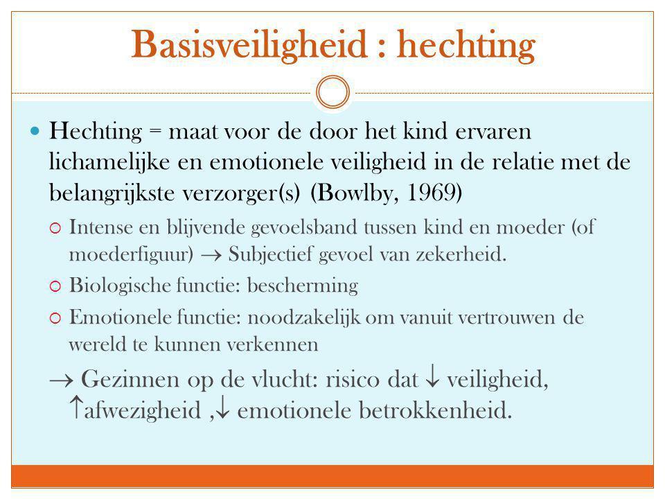  Hechting = maat voor de door het kind ervaren lichamelijke en emotionele veiligheid in de relatie met de belangrijkste verzorger(s) (Bowlby, 1969) 