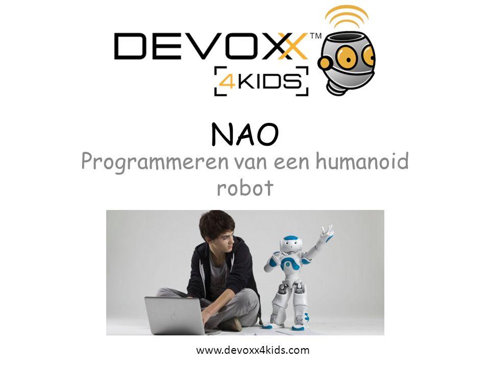 www.devoxx4kids.com Oefening 2 (vervolg) 7.NAO laat zijn arm zakken en sluit zijn hand – Terug naar het hoofd venster van Oefening 2.