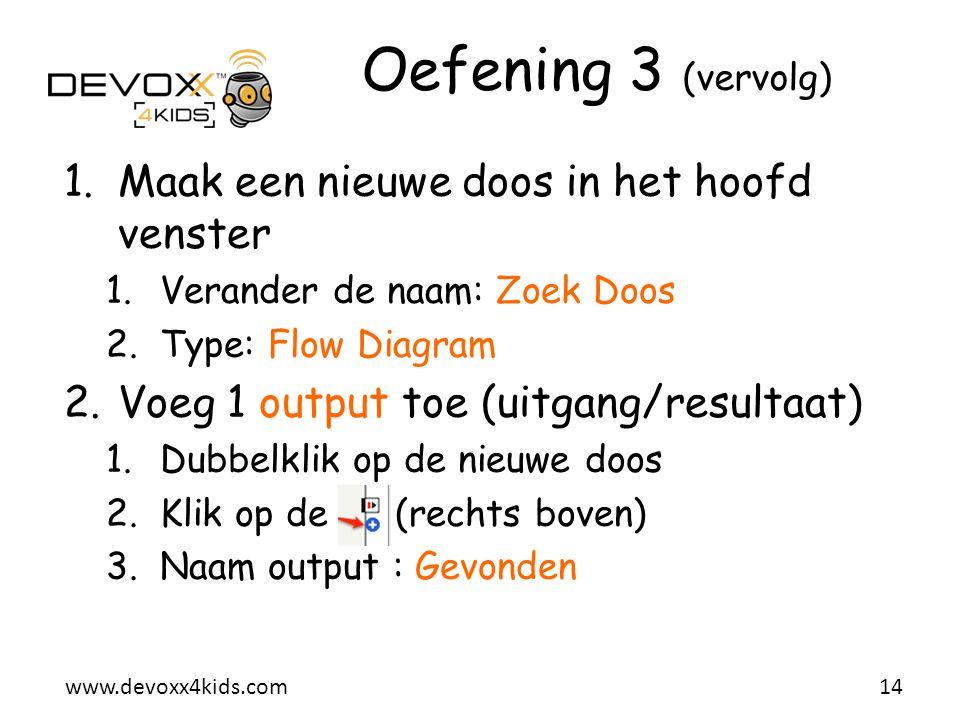www.devoxx4kids.com Oefening 3 (vervolg) 1.Maak een nieuwe doos in het hoofd venster 1.Verander de naam: Zoek Doos 2.Type: Flow Diagram 2.Voeg 1 outpu