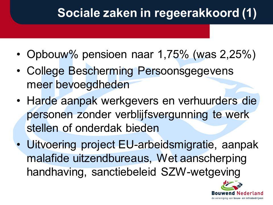 Sociale zaken in regeerakkoord (1) •Opbouw% pensioen naar 1,75% (was 2,25%) •College Bescherming Persoonsgegevens meer bevoegdheden •Harde aanpak werk