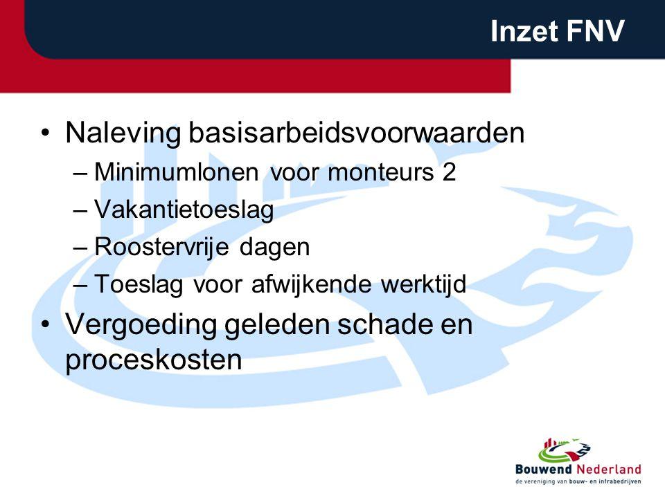 Inzet FNV •Naleving basisarbeidsvoorwaarden –Minimumlonen voor monteurs 2 –Vakantietoeslag –Roostervrije dagen –Toeslag voor afwijkende werktijd •Verg