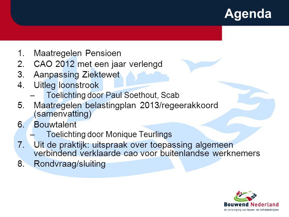 Agenda 1.Maatregelen Pensioen 2.CAO 2012 met een jaar verlengd 3.Aanpassing Ziektewet 4.Uitleg loonstrook –Toelichting door Paul Soethout, Scab 5.Maat