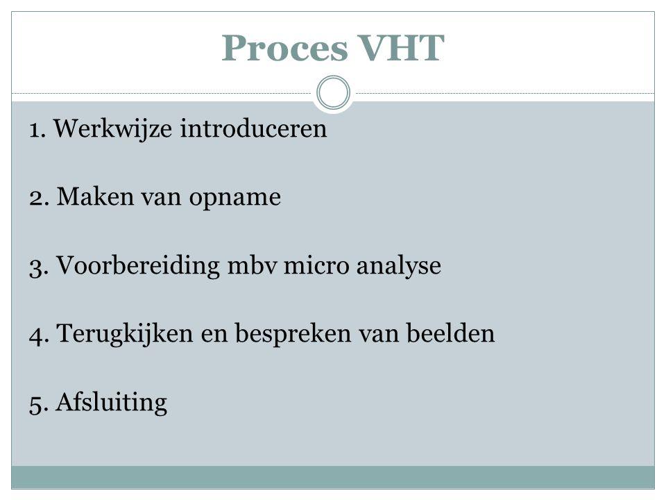 Proces VHT 1. Werkwijze introduceren 2. Maken van opname 3. Voorbereiding mbv micro analyse 4. Terugkijken en bespreken van beelden 5. Afsluiting