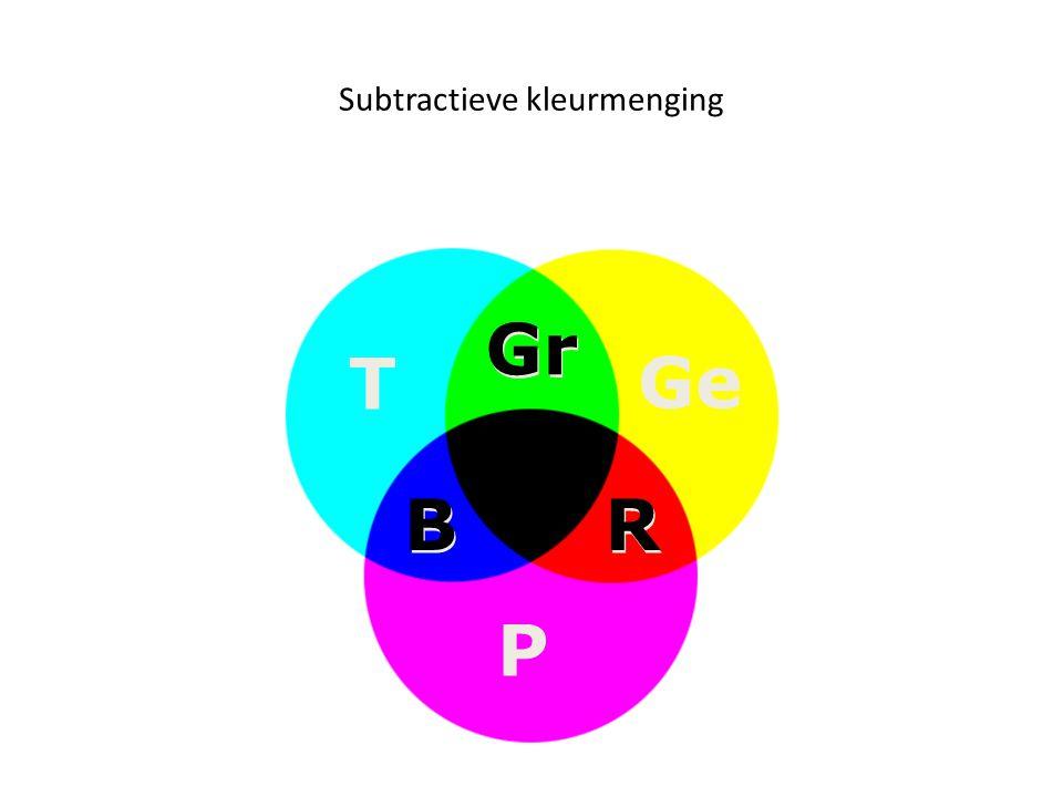 Subtractieve kleurmenging B B R R Gr P T Ge