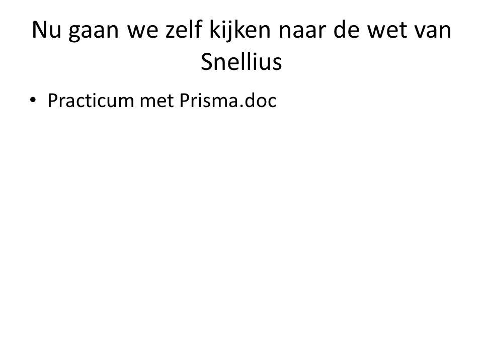 Nu gaan we zelf kijken naar de wet van Snellius • Practicum met Prisma.doc