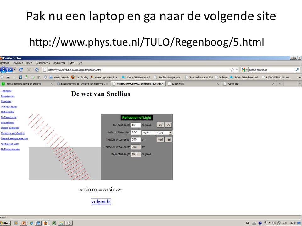 Pak nu een laptop en ga naar de volgende site http://www.phys.tue.nl/TULO/Regenboog/5.html