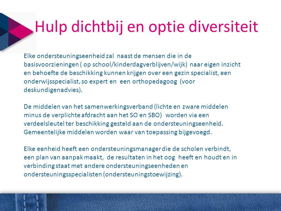 Hulp dichtbij en optie diversiteit Elke ondersteuningseenheid zal naast de mensen die in de basisvoorzieningen ( op school/kinderdagverblijven/wijk) n