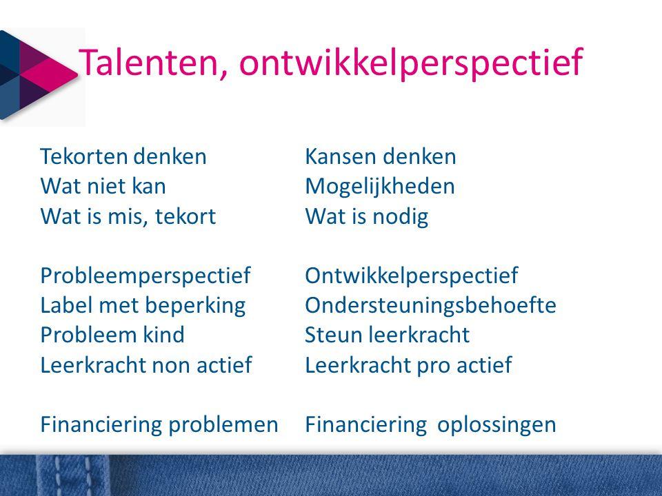 Talenten, ontwikkelperspectief Tekorten denkenKansen denken Wat niet kanMogelijkheden Wat is mis, tekortWat is nodig ProbleemperspectiefOntwikkelpersp