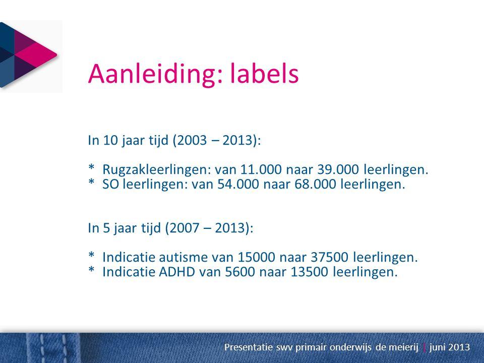 Aanleiding: labels In 10 jaar tijd (2003 – 2013): * Rugzakleerlingen: van 11.000 naar 39.000 leerlingen. * SO leerlingen: van 54.000 naar 68.000 leerl