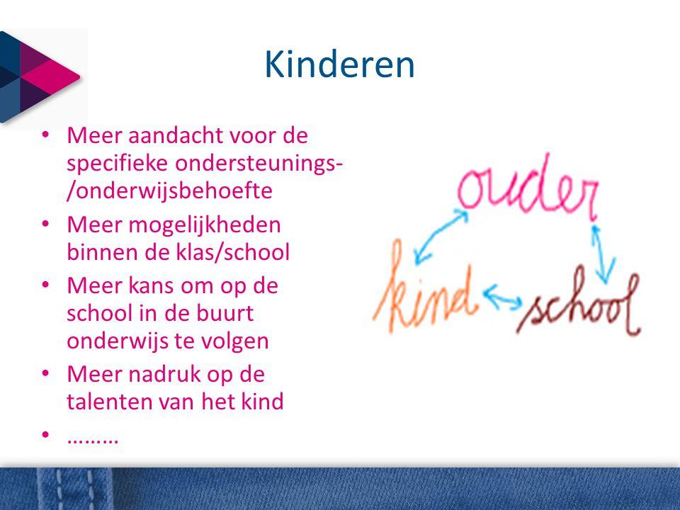 Kinderen • Meer aandacht voor de specifieke ondersteunings- /onderwijsbehoefte • Meer mogelijkheden binnen de klas/school • Meer kans om op de school