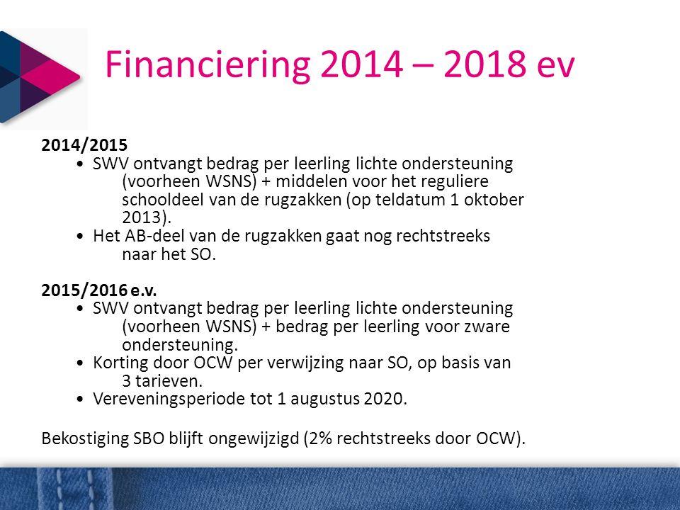 Financiering 2014 – 2018 ev 2014/2015 • SWV ontvangt bedrag per leerling lichte ondersteuning (voorheen WSNS) + middelen voor het reguliere schooldeel