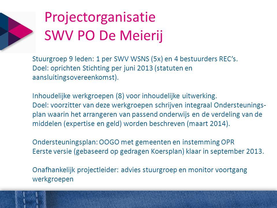 Projectorganisatie SWV PO De Meierij Stuurgroep 9 leden: 1 per SWV WSNS (5x) en 4 bestuurders REC's. Doel: oprichten Stichting per juni 2013 (statuten
