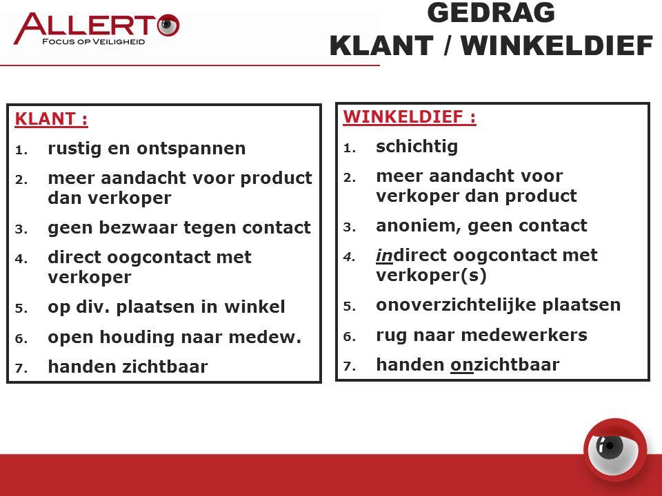 GEDRAG KLANT / WINKELDIEF KLANT : 1. rustig en ontspannen 2. meer aandacht voor product dan verkoper 3. geen bezwaar tegen contact 4. direct oogcontac